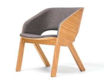 Merano Natural Oak Timber Lounge Armchair with Custom Upholstery by Alex Gufler for TON image
