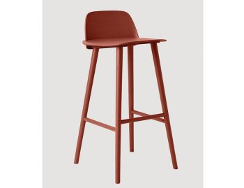 Nerd Bar Stool Dark Red by David Geckeler for Muuto image