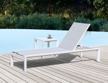 Alvor Sunlounge Matt White Aluminum with Light Grey Plexus Mesh by Bent Design Studio image