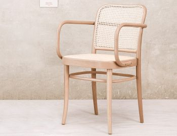 811 Natural Bentwood Armchair with Cane Seat and Cane Backrest by Josef Hoffmann for TON image