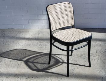 811 Black Stain Bentwood Dining Chair with Cane Seat and Cane Backrest by Josef Hoffmann for TON image