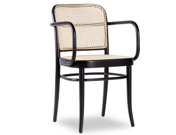 811 Hoffmann Black Stain Armchair with Cane Seat and Cane Backrest by TON image