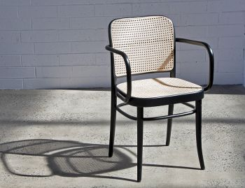 811 Black Stain Bentwood Armchair with Cane Seat and Cane Backrest by Josef Hoffmann for TON image