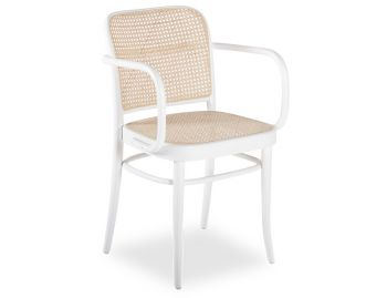 811 Hoffmann White Armchair with Cane Seat and Cane Backrest by TON image