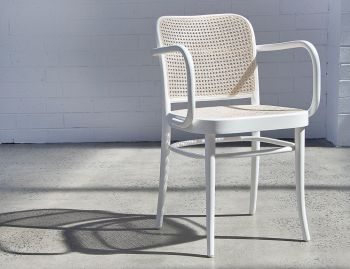 811 White Bentwood Armchair with Cane Seat and Cane Backrest by Josef Hoffmann for TON image