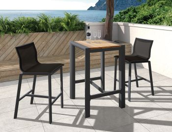 Vydel Outdoor Solid Teak High Bar Table 65cm x 65cm Matt Charcoal Aluminum by Bent Design image