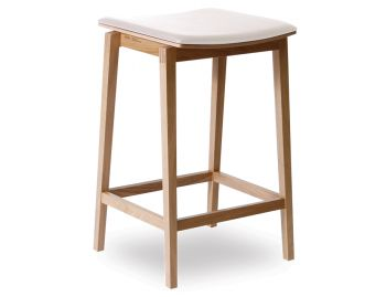 Stockholm Stool Natural European Oak with White Pad by Mads Johansen for TON image
