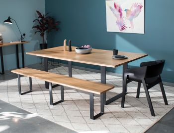 Odense Box End Black Steel Leg Solid European Oak 210x110cm Dining Table by Bent Design image