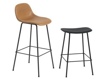 Fiber Stool with Backrest Upholstered Tube Base by Iskos Berlin for Muuto image
