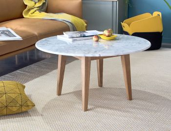 Copenhagen Italian Carrara Marble Solid Oak 80cm Round Coffee Table by Bent Design image