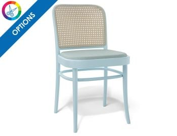811 Hoffmann Custom Colour Dining Chair with Upholstered Seat and Cane Backrest by TON  image