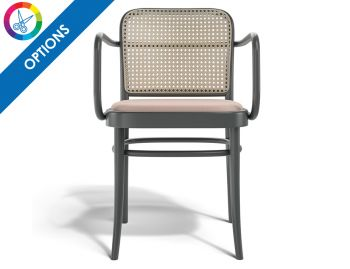 811 Hoffmann Custom Colour Armchair with Upholstered Seat and Cane Backrest by TON   image