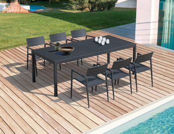 Halki Outdoor Dining Table 220cm x 100cm Matt Charcoal Aluminium by Bent Design image