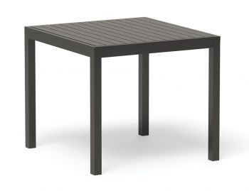 Halki Outdoor Dining Table 90cm x 90cm Matt Charcoal Aluminium by Bent Design image