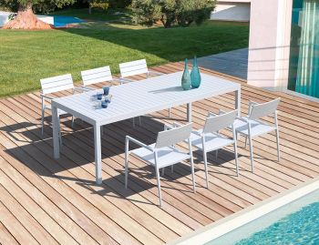 Halki Outdoor Dining Table 220cm x 100cm Matt White Aluminium by Bent Design image