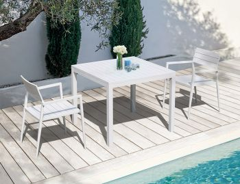 Halki Outdoor Dining Table 90cm x 90cm Matt White Aluminium by Bent Design image
