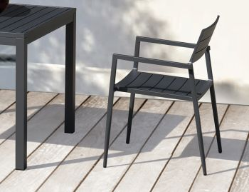 Halki Outdoor Armchair Matt Charcoal Aluminium by Bent Design image