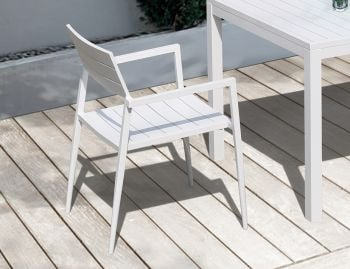 Halki Outdoor Arm Chair Matt White Aluminum by Bent Design image