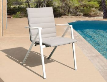 Naxos Outdoor Padded Arm Chair White Aluminium by Bent Design Studio image