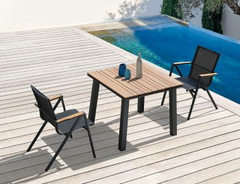 Naxos Outdoor Solid Teak Table Charcoal 90cm x 90cm by Bent Design Studio image