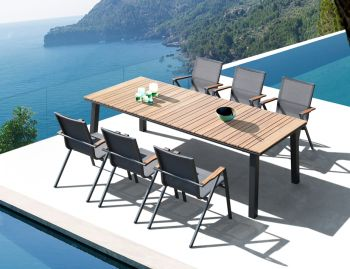 Naxos Outdoor Solid Teak Table Charcoal 240cm x 100cm by Bent Design Studio image