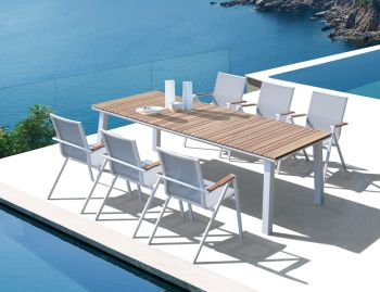 Naxos Outdoor Solid Teak White Table 240cm x 100cm by Bent Design Studio image