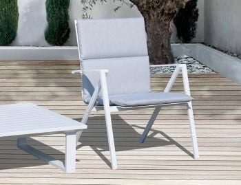Naxos Outdoor Padded Lounge Chair White Alumium by Bent Design Studio image