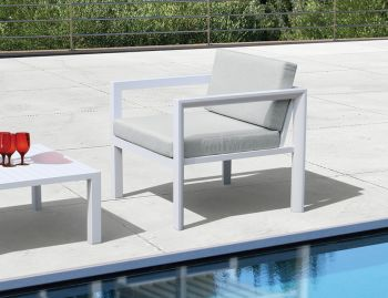 Alvor Outdoor Single Sofa Matt White Aluminium with Light Grey Cushions by Bent Design Studio image
