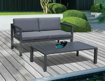 Alvor Outdoor Two Seater Sofa Charcoal Aluminum Padded by Bent Design Studio image
