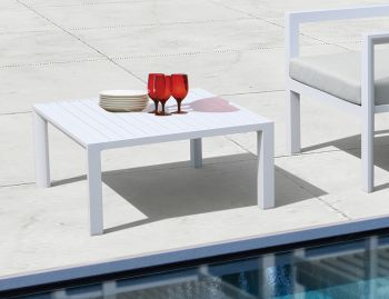 Alvor Outdoor Square Coffee Table Matt White Aluminium 75x75cm by Bent Design image