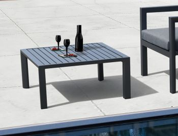 Alvor Outdoor Square Coffee Table Matt Charcoal Aluminium 75x75cm by Bent Design image