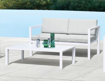 Alvor Outdoor Rectangle Coffee Table Matt White Aluminium 120x70cm by Bent Design image