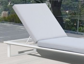 Vivara Outdoor Sunlounge White Aluminium with Light Grey Cushions by Bent Design image