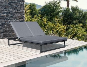 Vivara Outdoor Double Sunlounge Matt Charcoal Aluminium with Dark Grey Cushions by Bent Design image