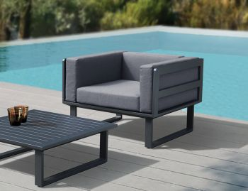 Vivara Outdoor Single Sofa Matt Charcoal Aluminium with Dark Grey Cushions by Bent Design image