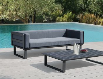 Vivara Outdoor Two Seater Sofa Charcoal Aluminium with Dark Grey Cushions by Bent Design image