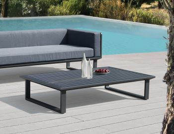Vivara Outdoor Rectangle Coffee Table Matt Charcoal Aluminium 142x85cm by Bent Design image