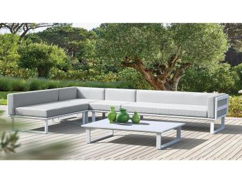 Vivara Outdoor Sofa White Aluminium with Light Grey Cushions by Bent Design image