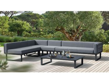 Vivara Outdoor Modular Sofa Charcoal Aluminium with Dark Grey Cushions by Bent Design image