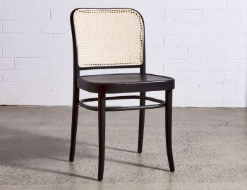 811 Hoffmann Black Stain Dining Chair with Wooden Seat and Cane Backrest by TON image