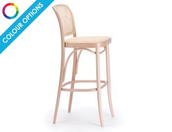 811 Hoffmann Custom Colour Stool with Cane Seat and Cane Backrest by TON image