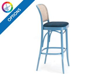 811 Hoffmann Custom Colour Stool with Upholstered Seat and Cane Backrest by TON  image
