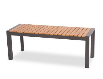 Vydel Outdoor Solid Teak Bench Seat 120cm Matt Charcoal Aluminium by Bent Design image