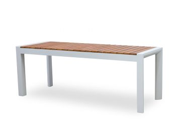 Vydel Outdoor Solid Teak Bench Seat 120cm Matt White Aluminium by Bent Design image