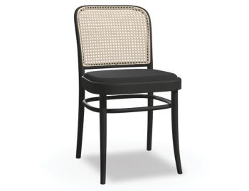811 Hoffmann Black Stain Dining Chair with Black Upholstered Seat and Cane Backrest by TON  image