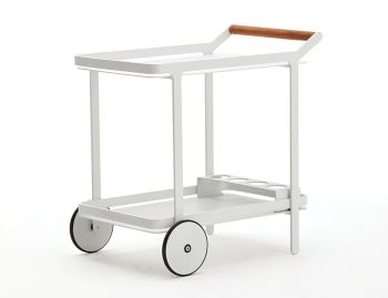 Imola Outdoor Bar Cart Drinks Trolley Matt White by Bent Design Studio image