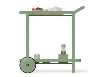 Imola Outdoor Teak Bar Cart Drinks Trolley Matt Sage Green by Bent Design image