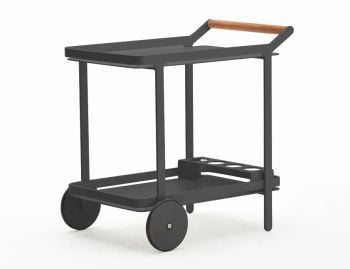Imola Outdoor Teak Bar Cart Drinks Trolley Matt Charcoal by Bent Design image