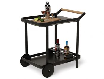 Imola Outdoor Teak Bar Cart Drinks Trolley Matt Black by Bent Design image