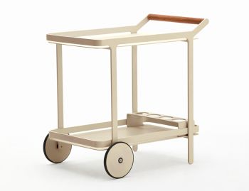 Imola Outdoor Teak Bar Cart Drinks Trolley Matt Champagne by Bent Design image